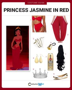 Cosplay Princess Jasmine's enslaved red outfit while under Jafar's control in the 1992 Disney movie, Aladdin. Esmerelda Costume, Jafar Costume, Princess Tiana Costume, Princess Jasmine Cosplay, Aladdin Costume, Red Costume, Aladdin Princess, Pocahontas Costume, Costume Ninja