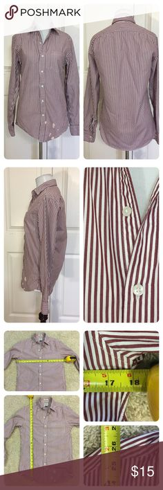J. Crew Slim Secret Wash shirt in vintage stripe J. Crew Slim Secret Wash shirt in vintage burgundy spencer stripe. The new and improved version of the Secret Wash shirt that was first launched in 2005. There is a new split back yoke, rounded pockets and chambray gussets and placket—details all inspired by classically tailored dress shirts.  Unfortunately a few spots ( bleach?) on bottom - see pic. Price reduced.  Cotton. Button-down collar. J. Crew Tops