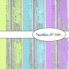 Shabby barn board digital scrapbooking papers in lime, aqua, and mauve, by Northern Whimsy on Etsy.
