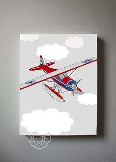 Vintage Airplane Boys wall art Airplane Canvas Art by MuralMAX