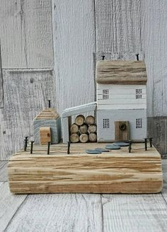 Driftwood Art, Driftwood House, Wooden House, Recycled Wood Art, Original Art, Driftwood Sails, Wood Sculpture, Wood Ornament, Diorama