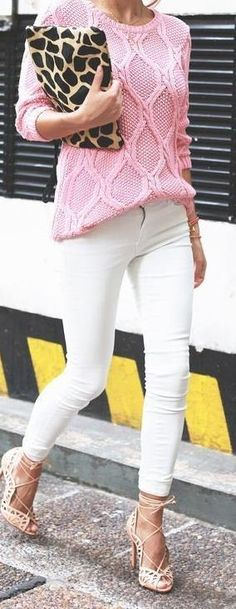 pink sweater + white skinny jeans