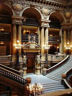 Stairs L'Opera Garnier, Paris, France. Can't believe I was standing on those stairs last month,  want to go back now!