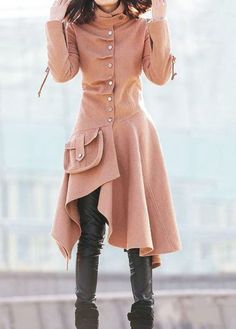 Snap Button Asymmetric Hem Pocket Long Coat on sale only US$48.46 now, buy cheap Snap Button Asymmetric Hem Pocket Long Coat at lulugal.com