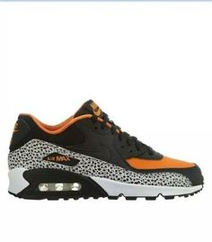 2a3daa7c7c4a Nike Air Max 90 Safari Big Kids 820340-100 Black Orange Athletic Shoes Size  7