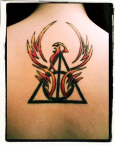 Deathly Hallows & Phoenix This would be a cool idea for a drawing