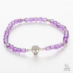 3afb08e00044 Bracelets - pulseras · Pulsera-mineral-amatista-calavera-plata-925