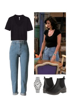 retro Monica Geller Must Have Affordable Winter Outfits Vintage Outfits, Retro Outfits, Casual Outfits, Throwback Outfits, Black Outfits, Rachel Green Outfits, Rachel Green Costumes, Hipster Outfits, Mode Outfits