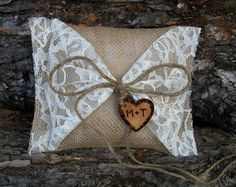 Personalized Ring Bearer Pillow Rustic by MyMontanaHomestead