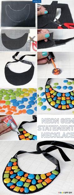 DIY Neon Gem Statement Necklace