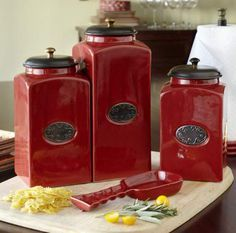 Burgundy Kitchen Canisters