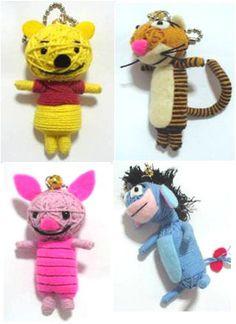 Winnie the Pooh Set String doll Voodoo doll keychain/ by narakdoll, $25.99