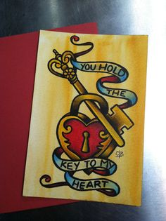 "Original 4x6 Hand Painted Traditional Flash Valentine's Day Card - ""Key to My Heart"" on Etsy, $25.00"