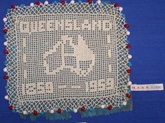 91/1235 Milk jug cover, filet crochet, 'Queensland', cotton, Australia, 1959 - Powerhouse Museum Collection