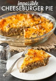 Impossible Cheeseburger Pie Super easy and delicious! This yummy recipe is full of cheesy beefy flavor that everyone loves. - Impossible Cheeseburger Pie - Super easy and delicious! This yummy recipe is full of cheesy beefy flavor that everyone loves. Beef Casserole Recipes, Meat Pie Recipes, Yummy Recipes, Chicken Recipes, Healthy Recipes, Steak Recipes, Crockpot Recipes, Bisquick Recipes, Cookies Et Biscuits