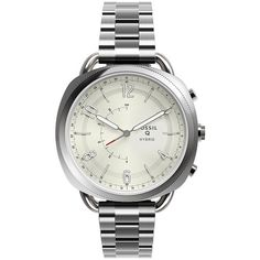 Fossil Hybrid Smartwatch - Q Accomplice Stainless Steel Ftw1202 ($175) ❤ liked on Polyvore featuring jewelry, fossil jewellery, stainless steel jewellery, stainless steel jewelry and fossil jewelry