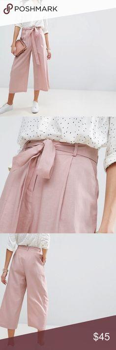 Asos culotte pants Asos culotte pants Blush color High rise Cropped 56% linen, 44% viscose ASOS Pants Wide Leg