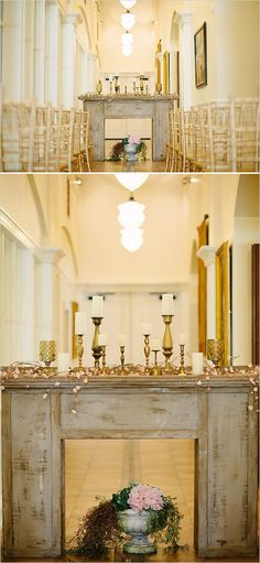 Ceremony mantle backdrop ideas. Venue: Belle Fiore Winery #weddingchicks http://www.weddingchicks.com/2014/06/19/oregon-winery-wedding/