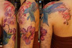 Hummingbird With Flower Tattoo | Hummingbird & Flower sleeve, part 2