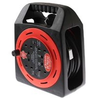 Faithfull 20m Semi Enclosed Cable Reel    Max 10A load.  4 Power outlets.  20 Metre cable with approved BS plug.  Manufactured to BS5733.  A handy 20m cable reel with 4 sockets in a cassette with built in handle for easy carrying and winding knob to speed up the retraction of the cable when not in use.
