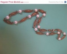 HOLIDAY SALE Vintage Pearl Necklace gold by AntiquesNejadStyle, $4.40