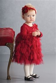 Biscotti - Deck the Halls Toddler Christmas Dress in Red