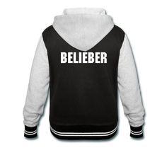 """""""Belieber"""" Women's Varsity Hoodie Jacket inspired by Justin Bieber"""