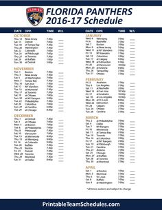 b9369a1b83c Florida Panthers 2016-17 Schedule  Hockey  NHL  Panthers Nhl Jets