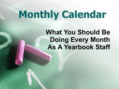 School Yearbook Staff Monthly Calendar