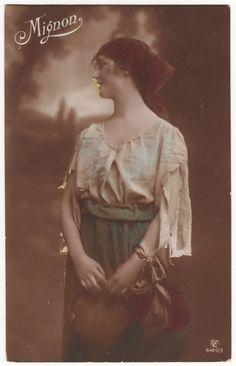 German gypsy postcard  Portrait of a beautiful gypsy woman. Mignon.