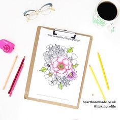 February gifts!  free printable colouring pages - one flowers and one vintage tea cups collection. #linkinprofile
