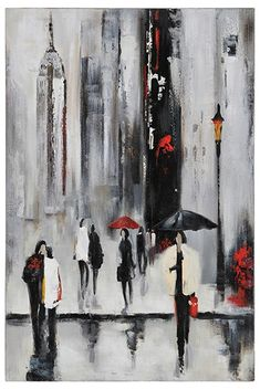 Une ville animée met en scène une imagerie classique avec des couleurs modernes de noir, de blanc et de rouge, qui permettent à cette œuvre de s'adapter à tous les décors. Peint à la main sur toile.