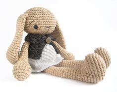 Crocheted bunny in a dress and cape - Cute amigurumi rabbit with floppy ears and long limbs - Stuffed animal -  Nursery decor - Camel beige. €55.00, via Etsy.