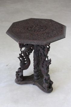 Burmese Octagonal Carved Occasional Table