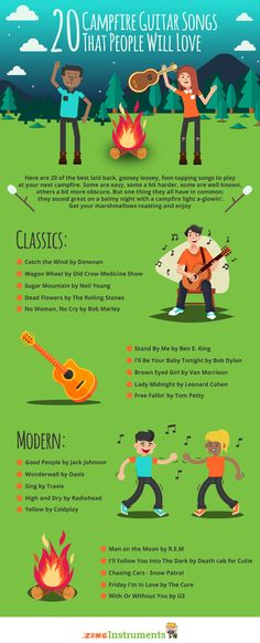 20 of the best campfire guitar songs - easy to learn, fun, and most important: guaranteed to cause SPONTANEOUS SING-ALONGS! Great Guitar Songs, Guitar Tips, Cool Guitar, Guitar Lessons, Piano Lessons, Ukulele, Guitar Chords, Acoustic Guitars, Music Guitar