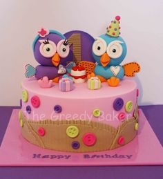 Birthday Cake Photos - Hoot & Hootabelle cake. All handcrafted. I have seen this 'cardboard' idea on a whole bunch of Hoot cakes and thought I would try it out for myself. Thanks for looking!