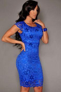 Koronkowa mocno niebieska sukienka na wesele, poprawiny, komunie.