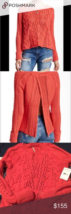 Free People Cross Cable Sweater - NWT Brand new with tags - Gorgeous Free People Cross Cable Sweater - made of 73% cotton and rest is polyester - color is a beautiful watermelon - back of sweater is open as you see in pictures which is so fashionable right now- goes beautiful with ripped jeans 👖- size is small and true to size - retail price 168$ - accepting offers Free People Sweaters