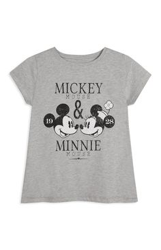 Primark - Grey Mickey Mouse And Minnie T-Shirt