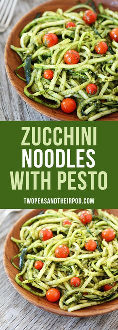 Zucchini Noodles with basil pesto and tomatoes. This easy, gluten-free noodle dish is a dinner favorite. Kids and adults love this easy zucchini noodle dish. It is perfect for meatless Monday or any day!