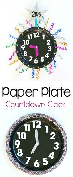 Paper Plate Countdown Clock: Count down the hours until the new year with this festive clock craft for kids! (Fun math activity for New Year's Eve!) ~ BuggyandBuddy.com