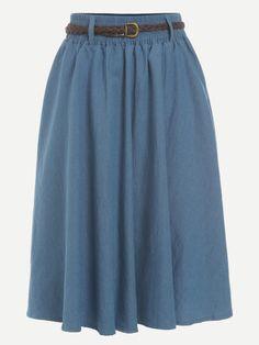 5dd7796e525b Blue Belted A Line Denim Skirt Kleidung, Taschen, Blauer Faltenrock,  Bescheiden Outfits,