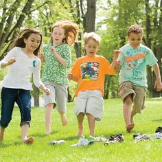 Lots of fun outdoor games to play during   any party. Shoe Scramble!