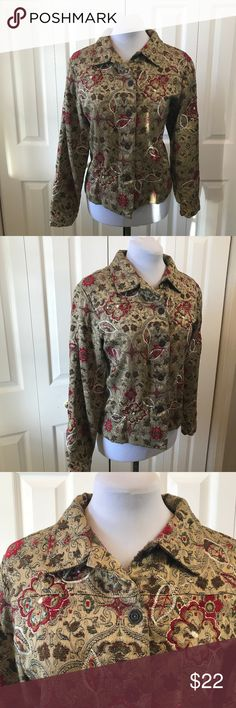 "Laura Ashley Embroidered & Sequin Jacket sz LP Laura Ashley Embroidered & Sequin Jacket sz LP Sorry about the first photo the light was coming in the window Bust: 42"" Waist: 42"" Hip: 44"" Sleeve: 23"" Length: 22"" Laura Ashley Jackets & Coats"