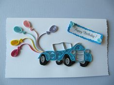 OOAK Birthday Greeting Card - Father's Day Card - Handmade Quilled Car - Paper…