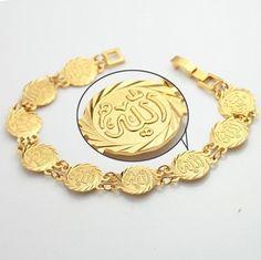 Fashion Arabic Style Illustration Description Islamic Allah Coin Bracelet Gold Plated Hand Chain Muslim Arab Fashion Jewelry – Read More – Real Gold Jewelry, Golden Jewelry, Gold Jewellery, Quartz Jewelry, Gold Coins For Sale, Gold Chains For Men, Coin Bracelet, Jewelry Bracelets, Jewelry Watches