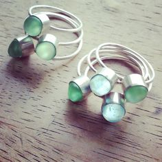 Sea Glass & Sterling Ring  Aqua or Green by TheRubbishRevival
