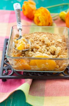 Photo about Delicious peach crumble on the table. Image of gourmet, freshness, bake - 24490189 Gluten Free Peach Cobbler, Peach Cobblers, Peach Crumble, Paleo Grubs, Peach Crisp, Paleo Treats, Paleo Food, Vegetarian Recipes, Eating Organic