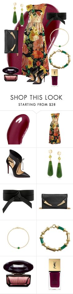 """""""Untitled #85"""" by tammy-stacey ❤ liked on Polyvore featuring Chantecaille, Christian Louboutin, Ross-Simons, IRO, Roberto Cavalli, Elsa Peretti, Tiffany & Co., Versace and Yves Saint Laurent"""
