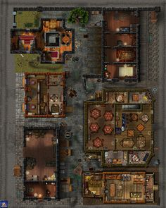 Sinister Back Alley encompassing an entire city block.  This map shows all the building interiors.